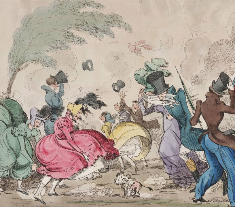 Hats flying around and skirts fly up in stormy weather