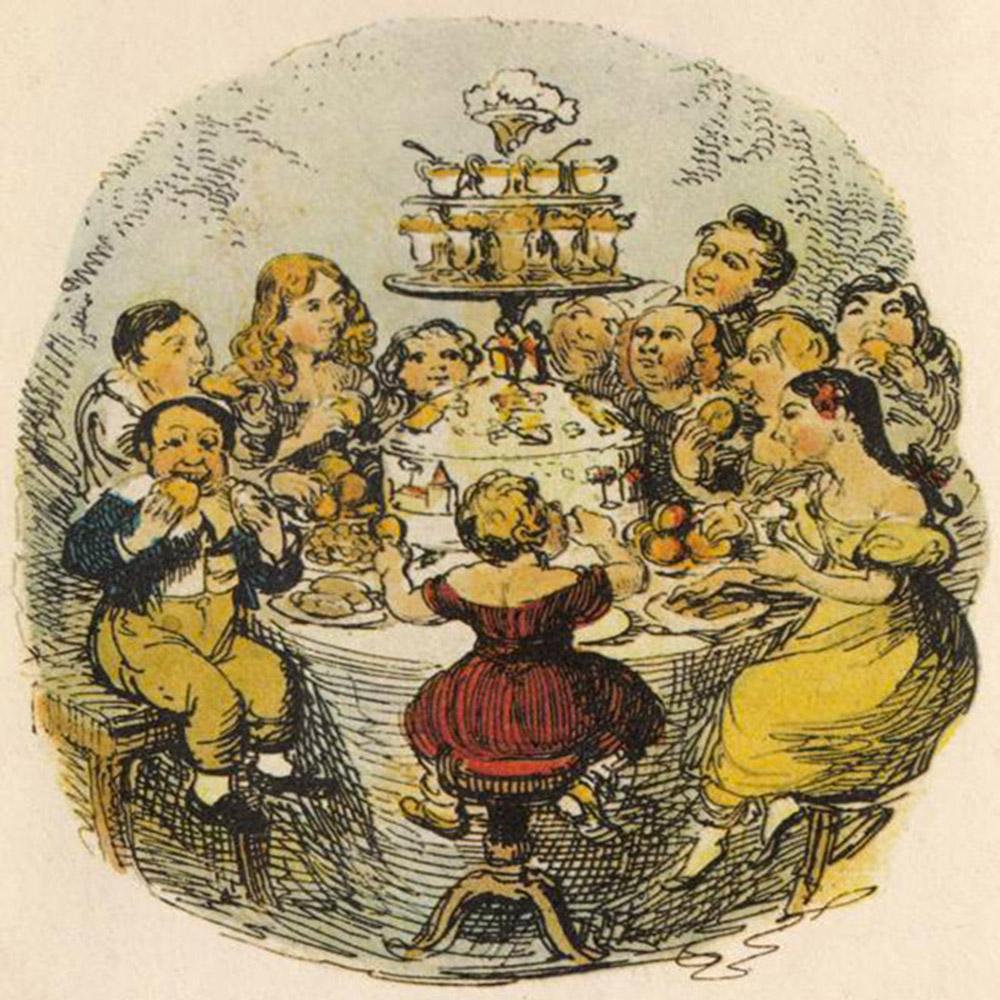 A copious family Christmas dinner