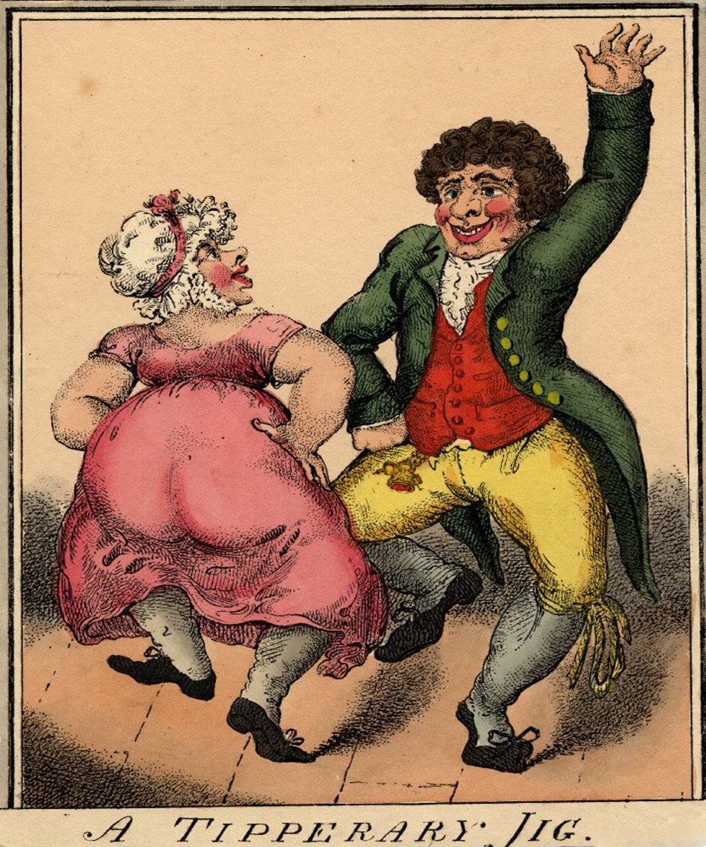 A cartoon on a couple dancing merrily