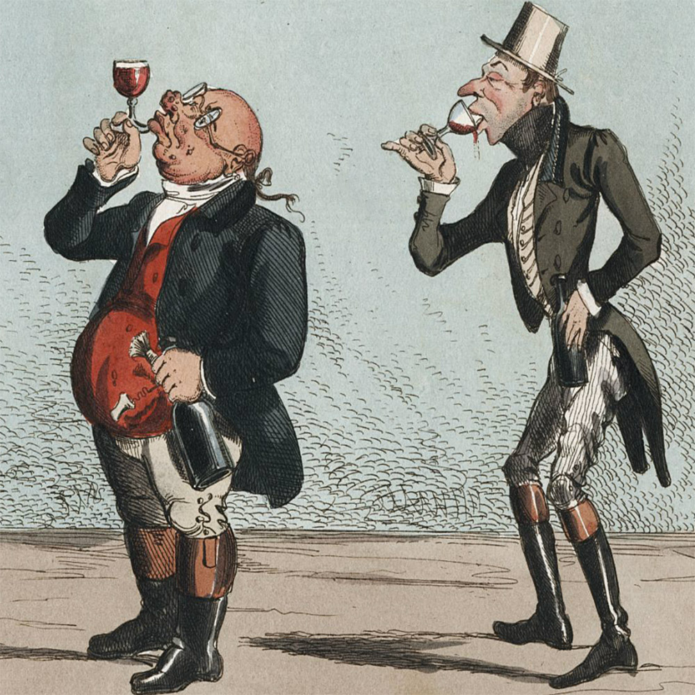 A cartoon on two men on alcohol and appreciating it