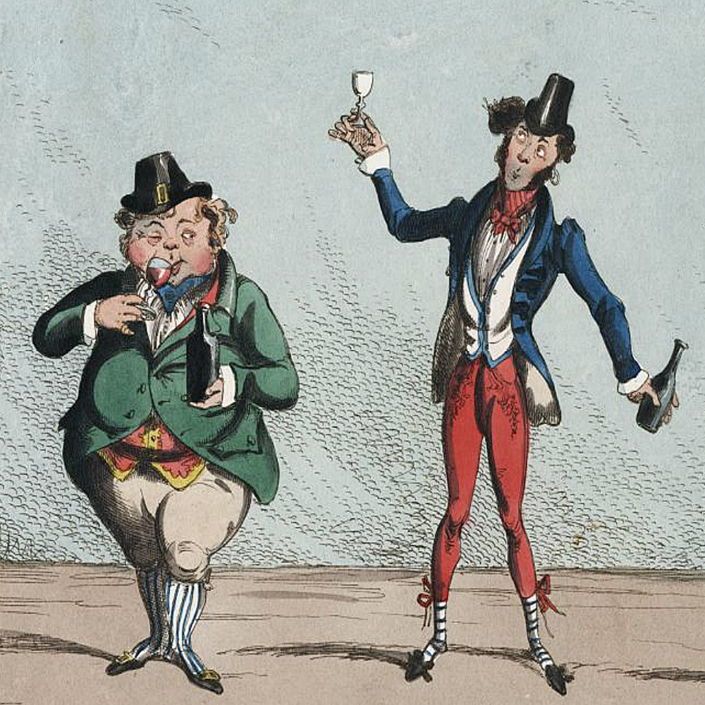 A cartoon on two men drinking wine and obviously appreciating it