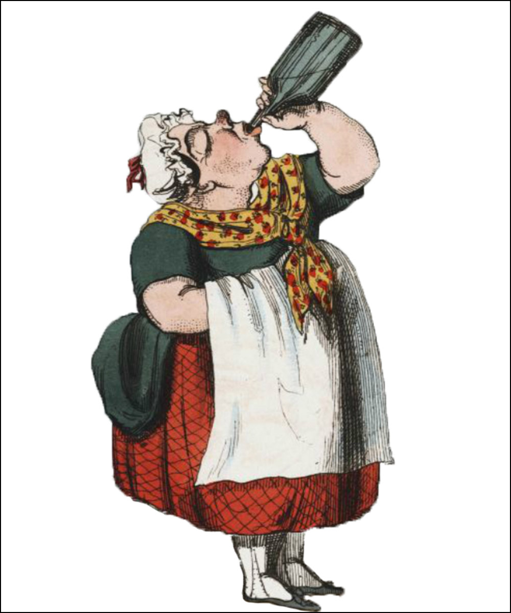 A cartoon on a woman putting a bottle to her lips