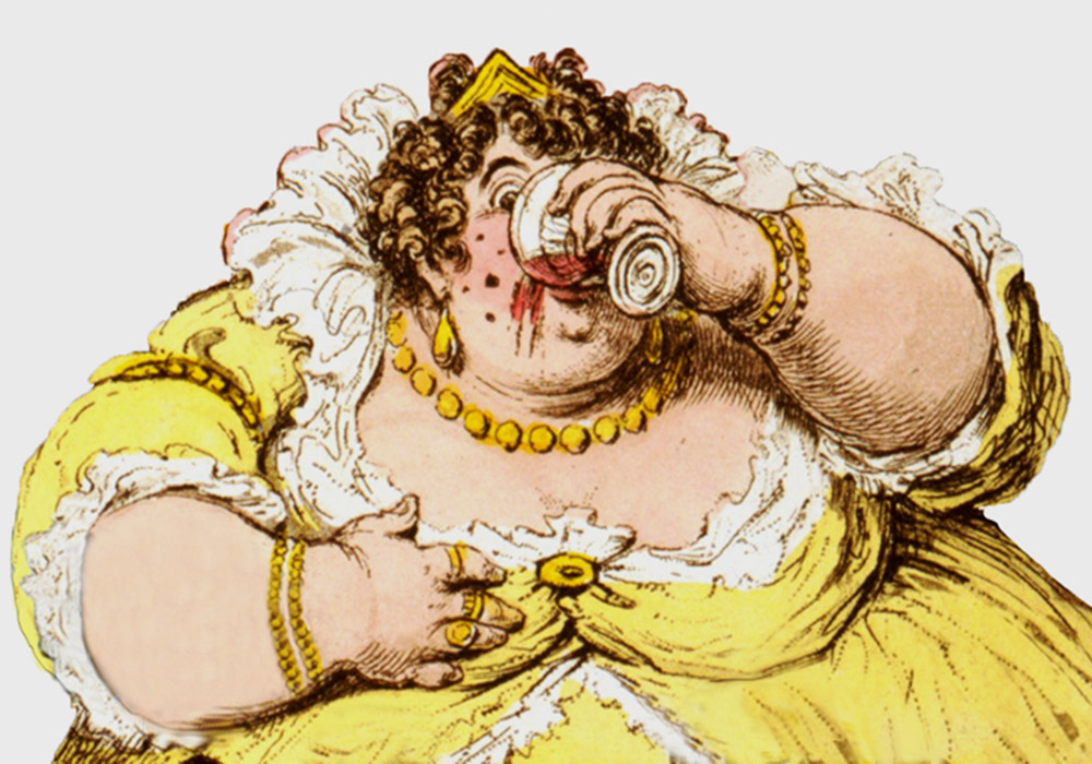 A very fat lady indulging herself in a glass of wine